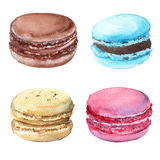 Set macaroon. Strawberry, chocolate, vanilla and mint. On white background. Watercolor illustration Royalty Free Stock Photo