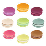 Set of macaroons. French pastries in watercolor style. Stock Images