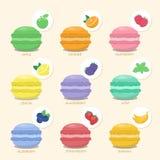Set macaroons z różnymi smakami Zdjęcie Stock