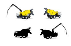Set of Machine Concrete Pump. Vector Illustration Stock Photo