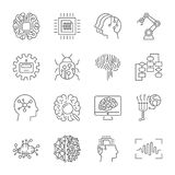Set of machine learning line icons. Simple pictograms pack. Vector illustration on a white background. Modern outline style icons Stock Image