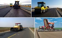 Machinery leveling bitumen. Set of machinery leveling bitumen Stock Photo