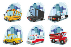 A set of machines. ambulance, fire car, truck, taxi, school bus, police car. cityscape. against the backdrop of the city. Illustration art graphic design Stock Image