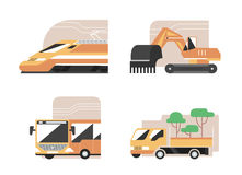 Set of machines. High speed train, excavator, public bus, gardening pickup. Flat style vector icons, municipal technics signs stock illustration