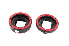 Set of macro rings for SLR cameras on a white background isolated. Stock Image