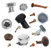Set macro screw heads, bolts, old metal rusty nail isolated on white background, with clipping path Royalty Free Stock Images