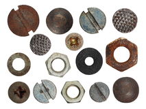 Set macro screw heads, bolts, steel nuts, old metal nail, isolated on white Stock Photo
