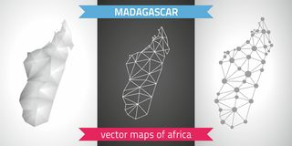 Madagascar set of grey and silver mosaic 3d polygonal maps. Graphic vector triangle geometry outline shadow perspective maps. Set of Madagascar polygonal mosaic Stock Photo