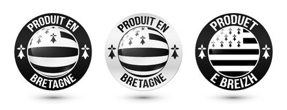 Set of Made in Brittany vector labels with signs in French and Breton languages Royalty Free Stock Images