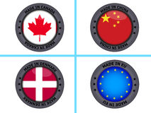 Set of made in country buttons Stock Image