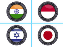Set of made in country buttons Stock Photos