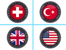 Set of made in country buttons Royalty Free Stock Photo
