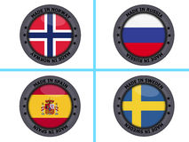 Set of made in country buttons Stock Photography