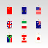 Set of made in labels of china, eu, uk, usa, italy, australia, south africa, canada and japan. Set of made in labels with national flag of china, eu, uk, usa royalty free illustration