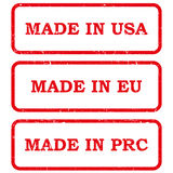 Set of made in stamps Stock Images