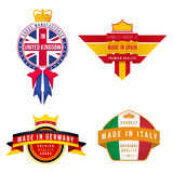 Set of made in united kingdom germany spain italy badges Royalty Free Stock Image