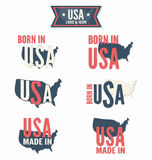 Set of Made in the USA and Born in the USA vector Stock Photo