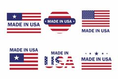 Set of Made in the USA label with American flag. American patriotic icon. Vector stock illustration
