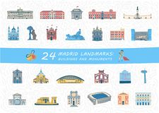 Set of Madrid city buildings and monuments. Set of Madrid city most famous buildings and monuments. Colorful spanish landmarks flat cliparts. Collection of vector illustration