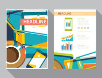 Set of magazine cover , flyer, brochure flat design templates Royalty Free Stock Image