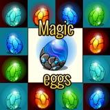 Set magia set, smoków jajka z backlight royalty ilustracja