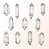 Set of 11 magic crystal gems Stock Photo