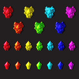 Set of magic crystals or minerals cartoon style on gray background. You can simply regroup elements, vector Stock Image