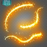 Set of magic glowing spark swirl trail effect  on transparent background. Bokeh glitter wave line with flying. Sparkling flash lights. Vector illustration Royalty Free Stock Photo