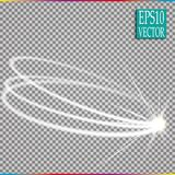 Set of magic glowing spark swirl trail effect  on transparent background. Bokeh glitter wave line with flying. Sparkling flash lights. Vector illustration Stock Images