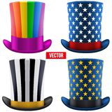 Set of magic hats cylinder. Vector Illustration Royalty Free Stock Image