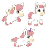Set Of Magic Horses, Unicorns And Pegasus. Cartoon Animals Vector. Stock Images