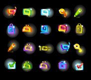 Set of magic icons. Set of icons in magic style on lack background Stock Photos