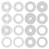 Set of magic knotting circles. Set of celtic knotting rings. 16 circular decorative elements with stripes braiding for your design Royalty Free Stock Photography