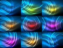 Set of magic neon shape abstract background, shiny light effect template for web banner, business or technology. Presentation background or elements, vector Royalty Free Stock Images
