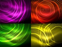 Set of magic neon shape abstract background, shiny light effect template for web banner, business or technology. Presentation background or elements, vector Stock Photos