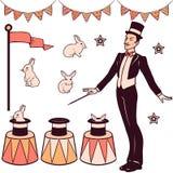 Set of magic performance elements vector illustration