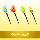 Set of magic tools magician, four scepters Royalty Free Stock Photo