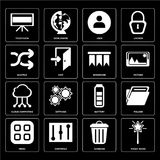 Set of Magic wand, Garbage, Menu, Battery, Cloud computing, Book. Set Of 16 icons such as Magic wand, Garbage, Controls, Menu, Folder, Television, Shuffle, Cloud Vector Illustration