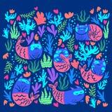 Set of magical cat mermaids. Hand drawn illustration