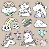 Set of Decorative Fashion Patches, Badges, or Pins royalty free illustration