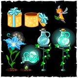Set of magical plants and potion flasks Royalty Free Stock Photo
