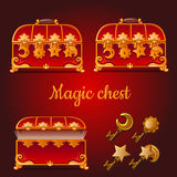 Set of magical red chests and golden keys Royalty Free Stock Image
