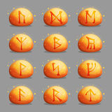 Set of magical runic stones for game design Stock Photography