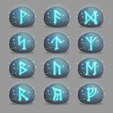 Set of magical runic stones for game design Royalty Free Stock Images
