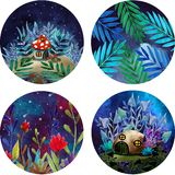 A set of magical stickers stock illustration