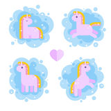 Set of magical unicorns for kids. Stock Image