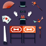 Set of magician Vector illustration Stock Image