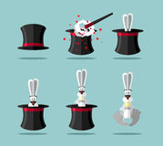Set magician: wand, Topper and rabbit.  Vector icon Royalty Free Stock Images