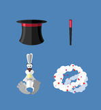 Set magician: wand, Topper and rabbit.  Vector icon Royalty Free Stock Photography