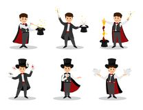 Set of magicians. Collectoin of magicians.Magicians with doves, playing cards, magic winds and hats.Isolated on white background. Cartoon style. Vector Stock Photography